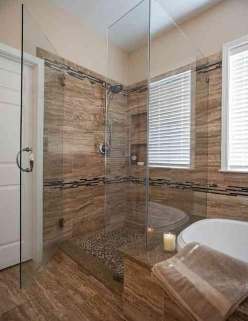 carrelage salle de bain imitation bois pour un dcor chaleureux douche italiennesalle - Salle De Bain Avec Douche Italienne Et Baignoire