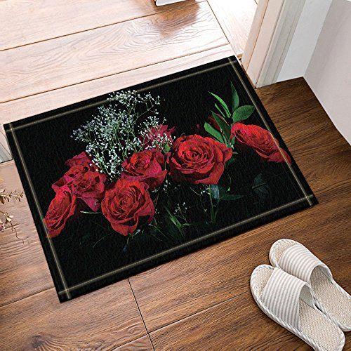 Nymb Red Rose In Black Bath Rug Non Slip Floor Entryways Outdoor