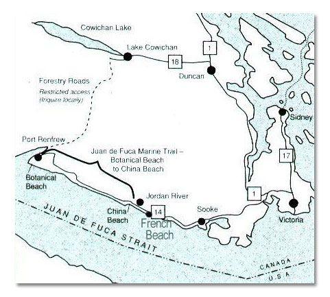 map Juan de Fuca Marine Trail directions