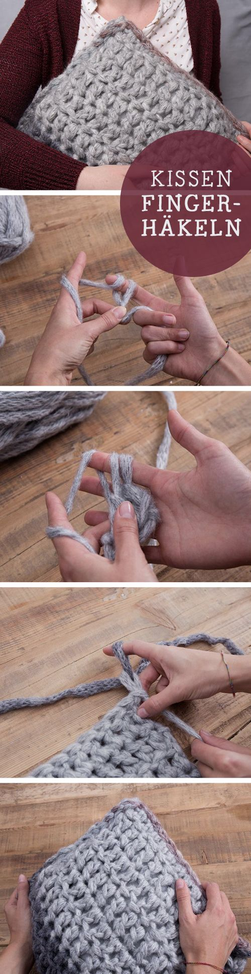DIY-Anleitung: Alles über Fingerhäkeln, Kissen mit den Fingern häkeln / diy tutorial: how to crochet a cushion by hand via DaWanda.com