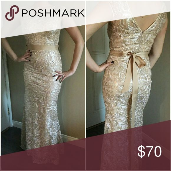 "Gold Lace Sparkly Formal/Bridesmaid Dress Gorgeous beaded sparkly lace dress. Long, champagne gold color. With sash included. Long enough for 5""7-5""10 tall. Fits sizes 4-8 in standard American sizing. Tag says medium. Dresses Wedding"