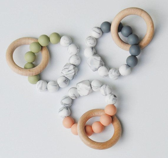Baby Molar Muncher Teething Ring Chewable Silicone Beads Sensory Teether Toys
