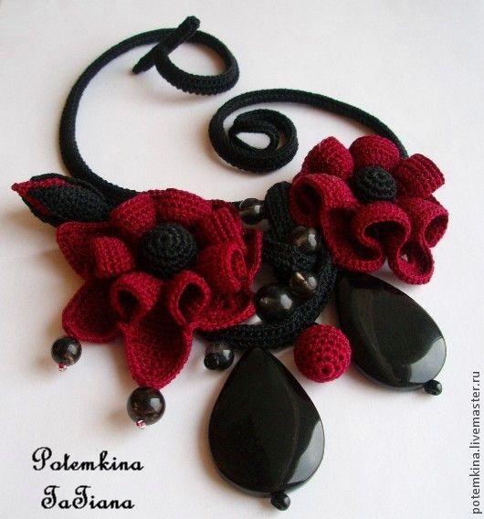 """Купить Колье """"Фея Вишни в Шоколаде"""" - бордовый, черный, вишневый, бордовый цветок, вишня в шоколаде"""