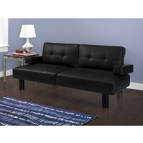 Get The Mainstays Connectrix Black Faux Leather Futon At