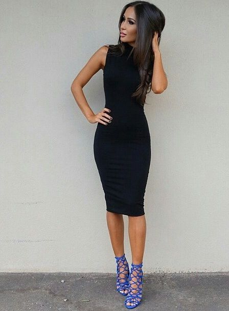 Shocking blue heels paired with a bodycon midi dress to pass off as classy and cool
