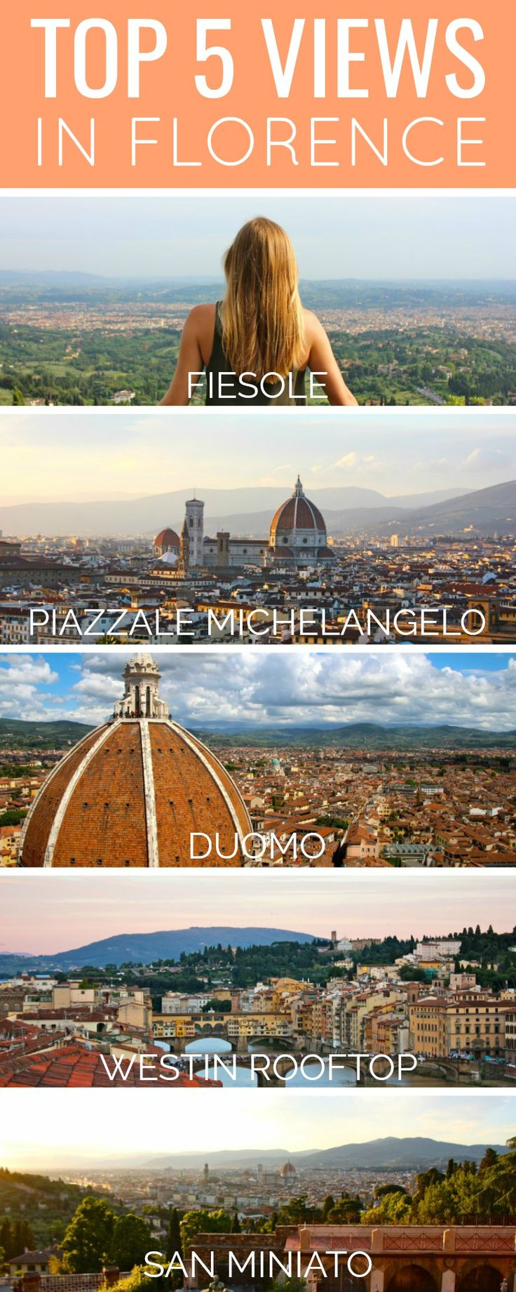 Top 5 Views in Florence (And Where to Find Them!) | Discover where to find the best views in Florence, Italy. Have a romantic dinner in Fiesole, climb the Duomo, watch the sun set at Piazzale Michelangelo, or try some rooftop cocktails.