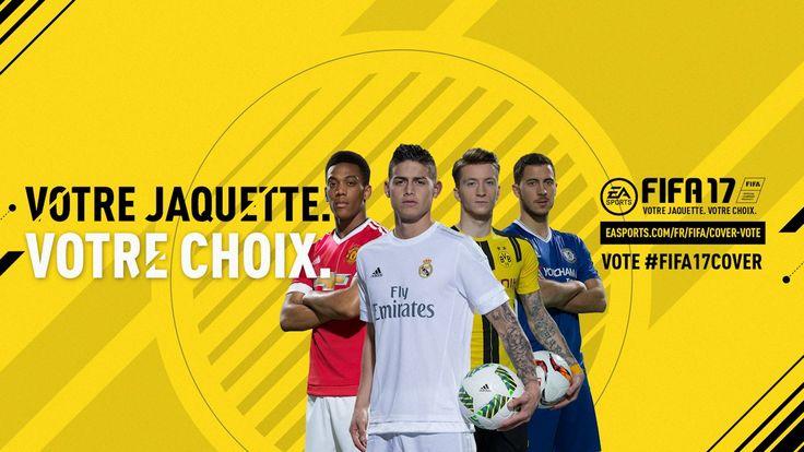 Comme chaque année pour tous les titres d'EA Sports, les fans pourront décider de la star qui figurera sur la jaquette de Fifa 17.  A partir d'aujourd'hui et jusqu'au 20 Juillet, vous pourrez voter sur le site officiel du jeu pour l'un des quatre joueurs sélectionnés : James Rodriguez du Real Madrid, Anthony Martial de Manchester United, Eden Hazard de Chelsea et Marco Reus du Borussia Dortmund.