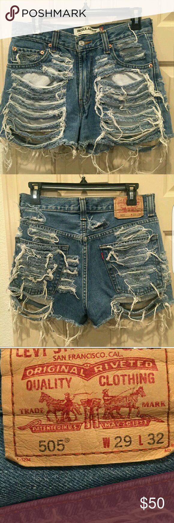 Levi's 505 shredded vintage denim shorts w29 l32 Vintage shredded shorts excellent condition Levi's Jeans