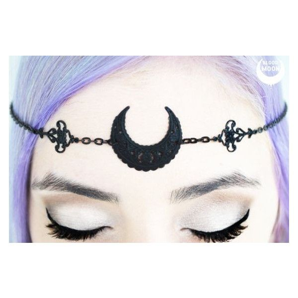 Matte Black Moon Circlet moon tiara, moon crown, moon head dress,... ❤ liked on Polyvore featuring accessories and hair accessories