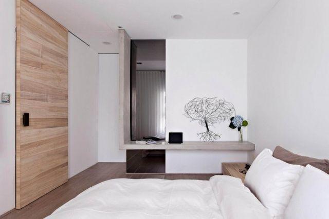 chambre scandinave et porte coulisssante en bois clair massif