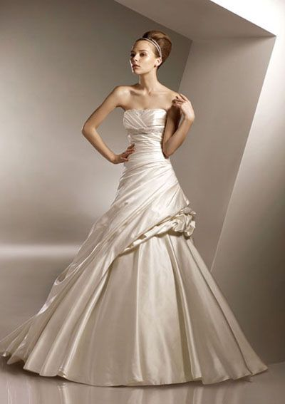 A-Line Square Neckline Floor-Length Satin Bridal Dresses,$150.99