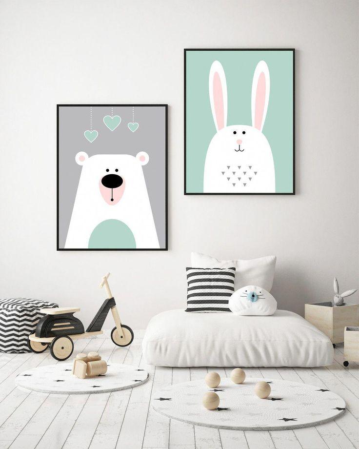 """Drucke & Plakate – Kinderzimmerbilder SET """"Bär und Kanninchen"""" A3 – ein Designe…"""