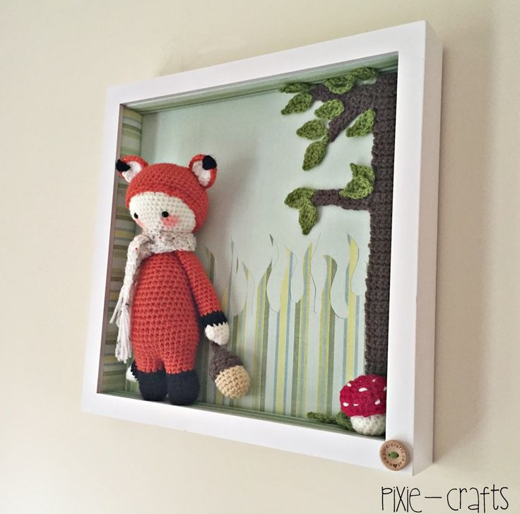 Handmade Crochet Amigurumi Lalylala Fibi Fox in Box Frame Picture Decoration. Ideal for baby nursery. 13 inches square. Great gift idea | wowthankyou.co.uk