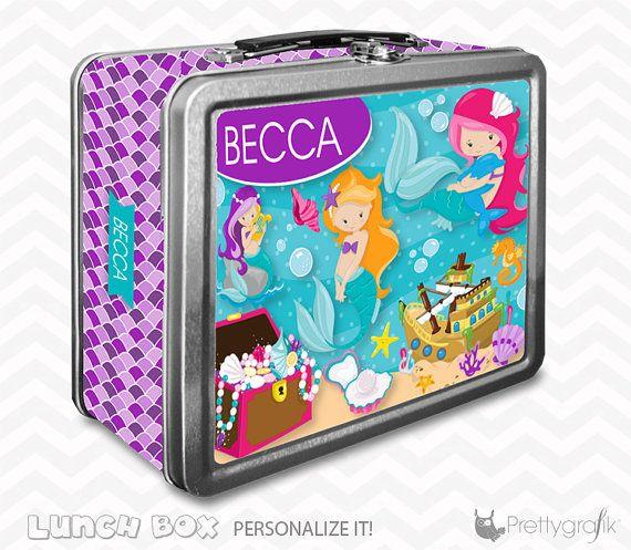 Mermaid Lunch box personalized lunch box by PrettygrafikGifts #mermaidlunchbox #kislunchbox #customlunchbox