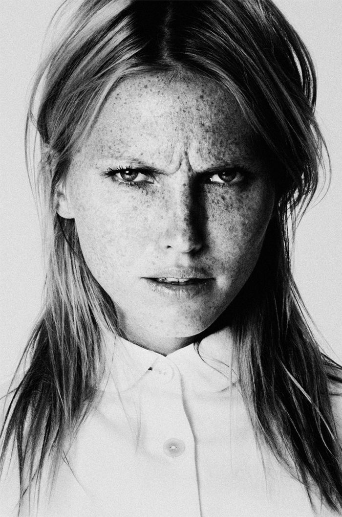 freckled frown | black & white | fashion editorial | scowl |