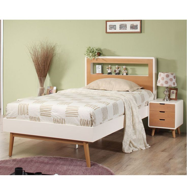 Euro Single-Bed, Two-toned solid white with natural wood legs