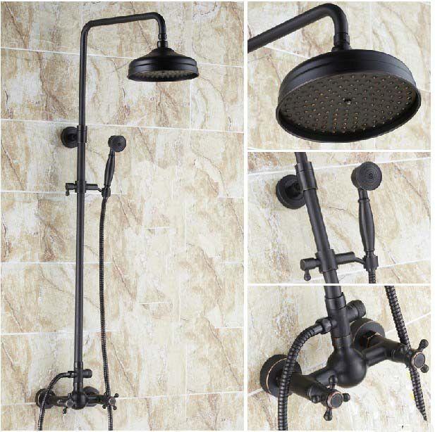 "NEW Luxury Oil Rubbed Bronze Shower Faucet Set 8"" Rain Shower Head + Hand Shower #STR"