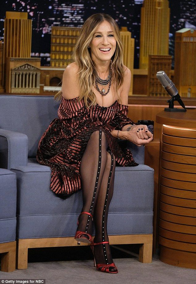 The tights stuff: The 51-year-old sported black tights with a studded strip along the front
