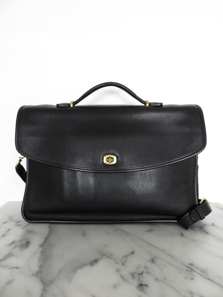 COACH Briefcase Classic Unisex Black Leather Brass Hardware Large Business Portfolio Authentic by COTIVE on Etsy https://www.etsy.com/listing/256810352/coach-briefcase-classic-unisex-black