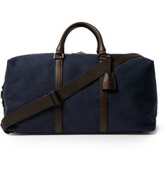 MulberryLeather-Trimmed Canvas Clipper Bag