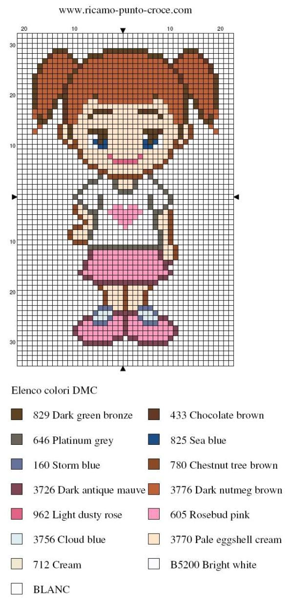 Girl pattern/ chart for cross stitch, crochet, knitting, knotting, beading, weaving, pixel art, and other crafting projects