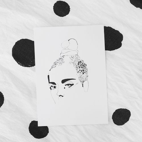 black and white fashion illustration by erin flannery