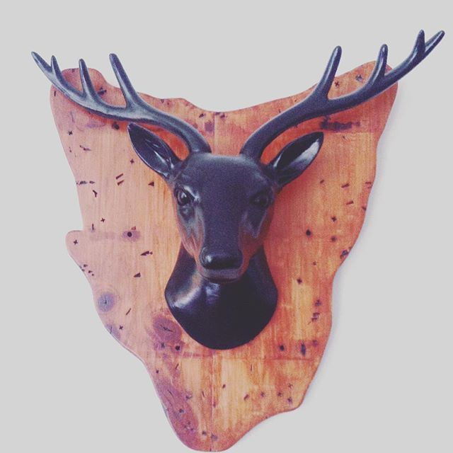 Lounge room wall decor. This was originally a spoon holder and a white deer so I changed them up to create this plaque and I love it. #diy #deerhead #wood #myway #mystyle #decor