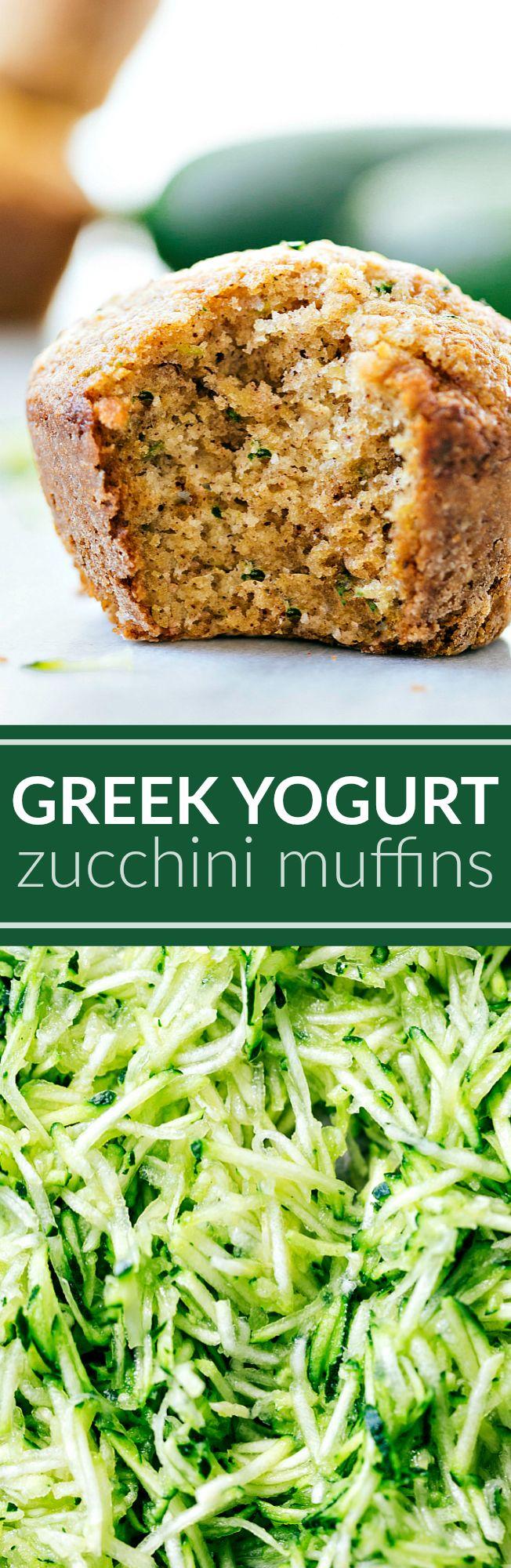 Healthier Greek Yogurt Zucchini Muffins made with better-for-you ingredients like Greek yogurt, mashed banana, honey, oats, and of course zucchini.