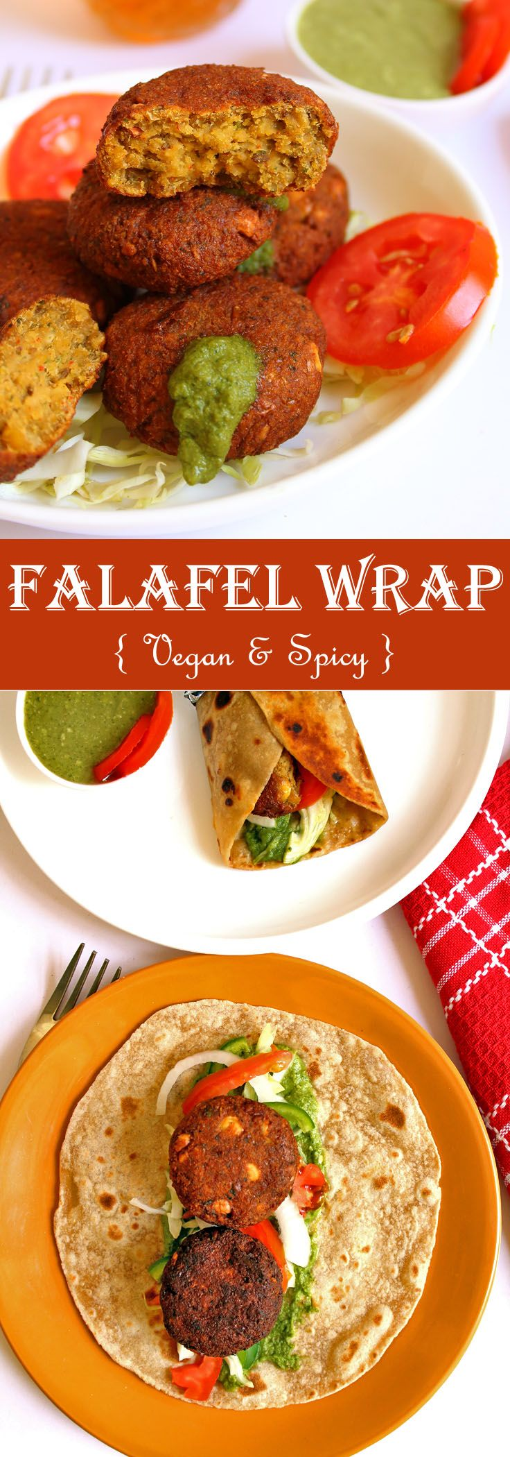 This Spicy Vegan Falafel Wrap is an Indian version of very famous middle eastern street food falafel wrap.