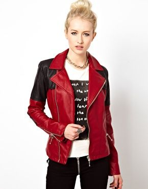 Kill City Contrast Faux Leather Biker Jacket
