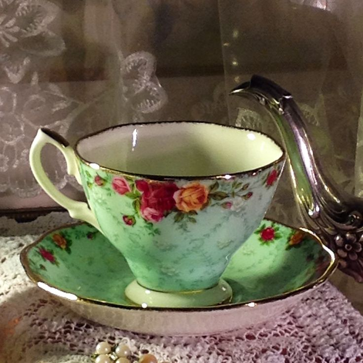 Royal Albert - English Fine Bone China Tea  Cup & Saucer - Peppermint Damask. $20.00, via Etsy.