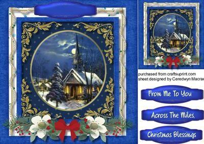 Beautiful Christmas Scene at Midnight Mass on Craftsuprint designed by Ceredwyn Macrae - A love4ly card in blue with a beautiful Christmas scene at…