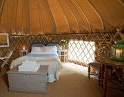 Our LPM Bohemia 16ft Yew Yurt with double bed has fresh linen and a cosy duvet for an indulgent night's sleep at our glamping site, Hare's Leap, Rock Farm Slane - http://www.lpmbohemia.com/boutique-camping/hares-leap-campsite/