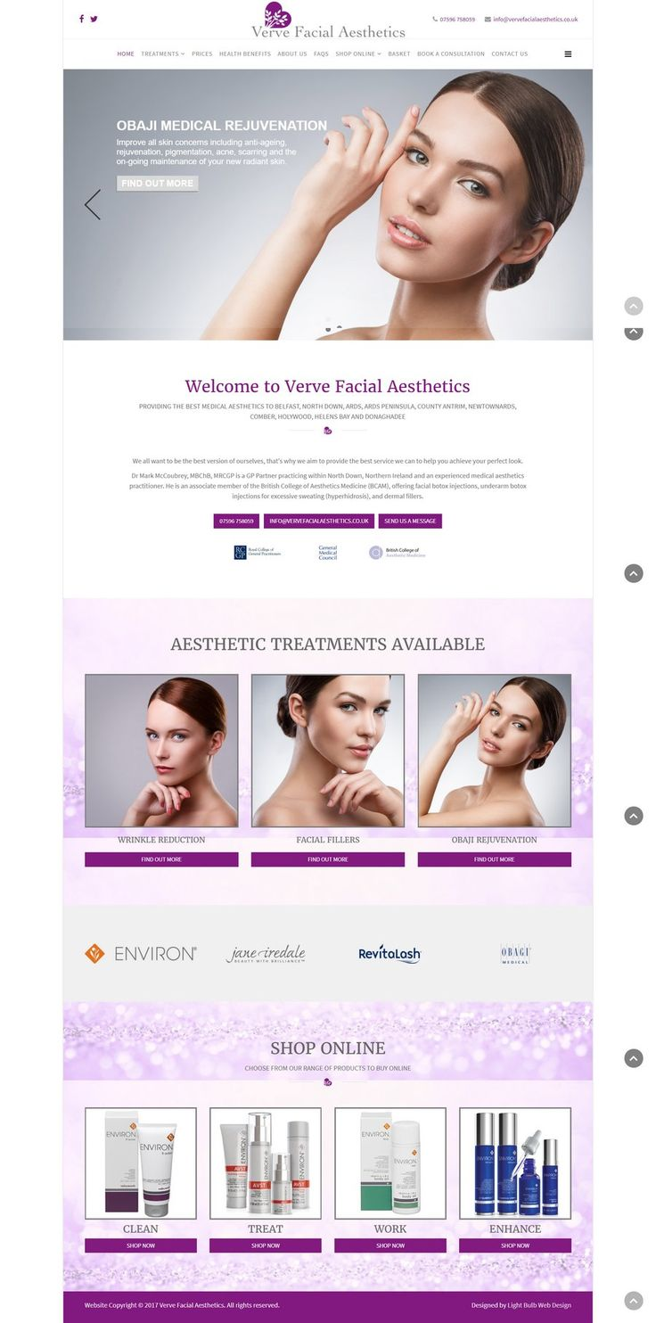A blend of beauty and e-commerce in this website design for Verve Facial Aesthetics in Belfast, Ireland