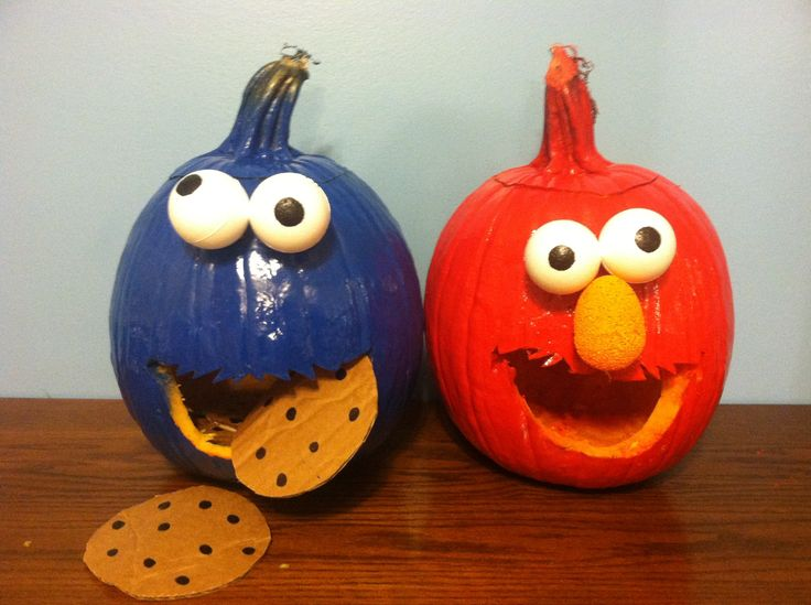 Cookie Monster and Elmo pumpkins | Projects I Completed ...