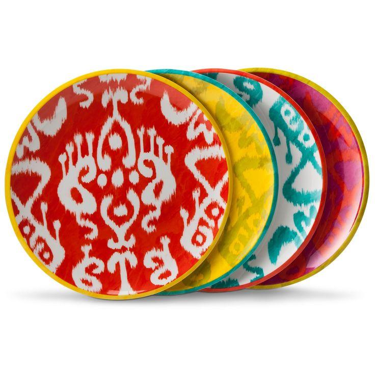 Ikat Print Melamine Assorted Salad Plates - Set of 4