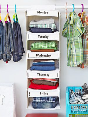 Organize Clothes Kids can dress themselves when outfits are neatly placed in the Days of the Week Closet Organizer. $30;