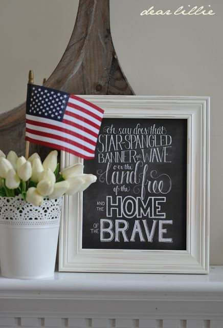 Star spangled banner chalkboard print via Dear Lillie, I might have to get this one I love it!