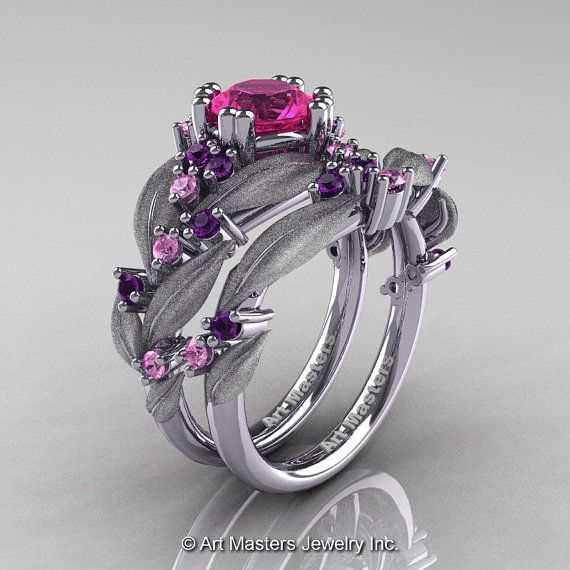Nature Classic 14K White Gold 1.0 Ct Pink and Light Pink Sapphire Amethyst Leaf Vine Engagement Ring Wedding Band Set R340SS-14KWGAMLPSPS