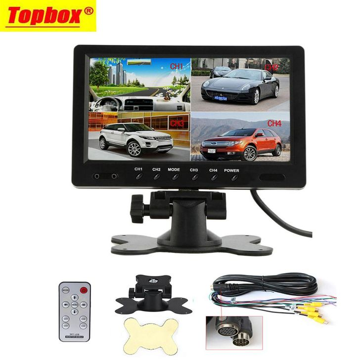 "9"" TFT LCD Split Screen Quad Monitor CCTV Security Surveillance Car Headrest Rear View Monitor 4 RCA Connectors 6 Mode Display"