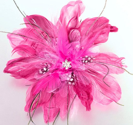 Hot Pink Feather Hair Clip for Bride or Wedding Party