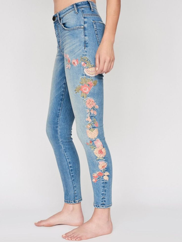 Bird of Paradise Scallywag Skinnies | In a high rise, these washed skinnies feature beautiful floral embroidery detailing allover. * Slightly stretch fit. * Ankle grazing length. * Zip fly and button closure. * Five-Pocket style.