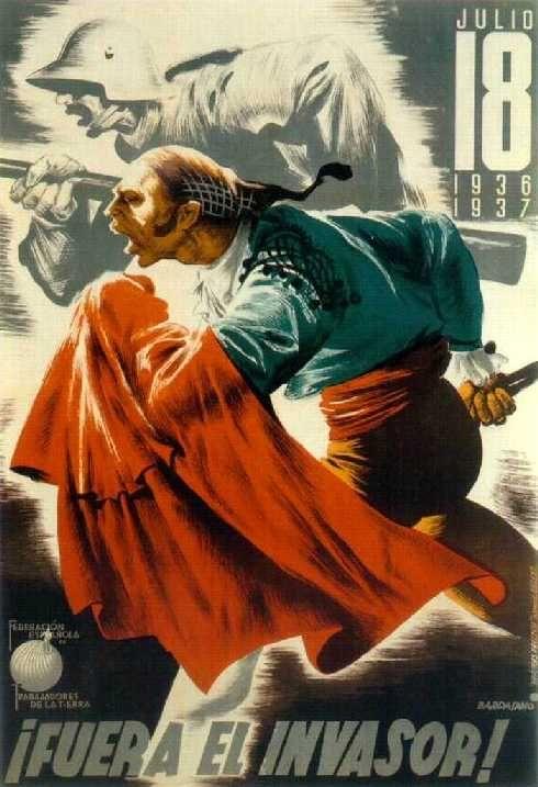 ¡Fuera el invasor! (Invaders Out!) by José Bardasano, 1937. Contributor: Unión General de Trabajadores. Federación Española de Trabajadores de la Tierra.