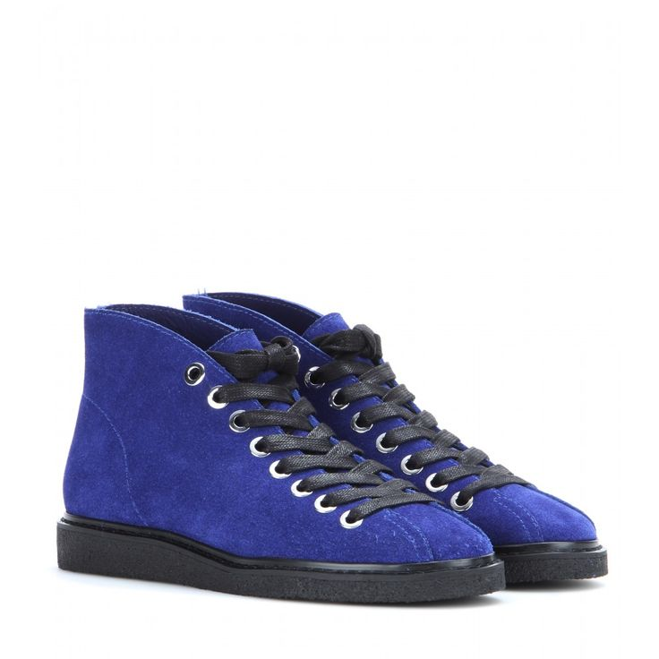 Alexander Wang - Emmanuel suede sneakers - Alexander Wang knows how to put the cool factor into everything. The desert boot meets high-top sneakers in this edgy option from the new collection. In royal blue suede with minimal detailing, they feature a chunky rubber sole for comfort and height. Try them as a tough update to a girly dress. seen @ www.mytheresa.com