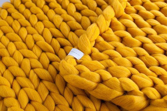Chunky Knitted Blanket Mustard Yellow Chunky Knit Blanket Merino Wool Blanket 100 Merino Wool Giant Throw Chunky Arm Knitting Knitted Blankets Yellow Chunky Chunky Knit Blanket