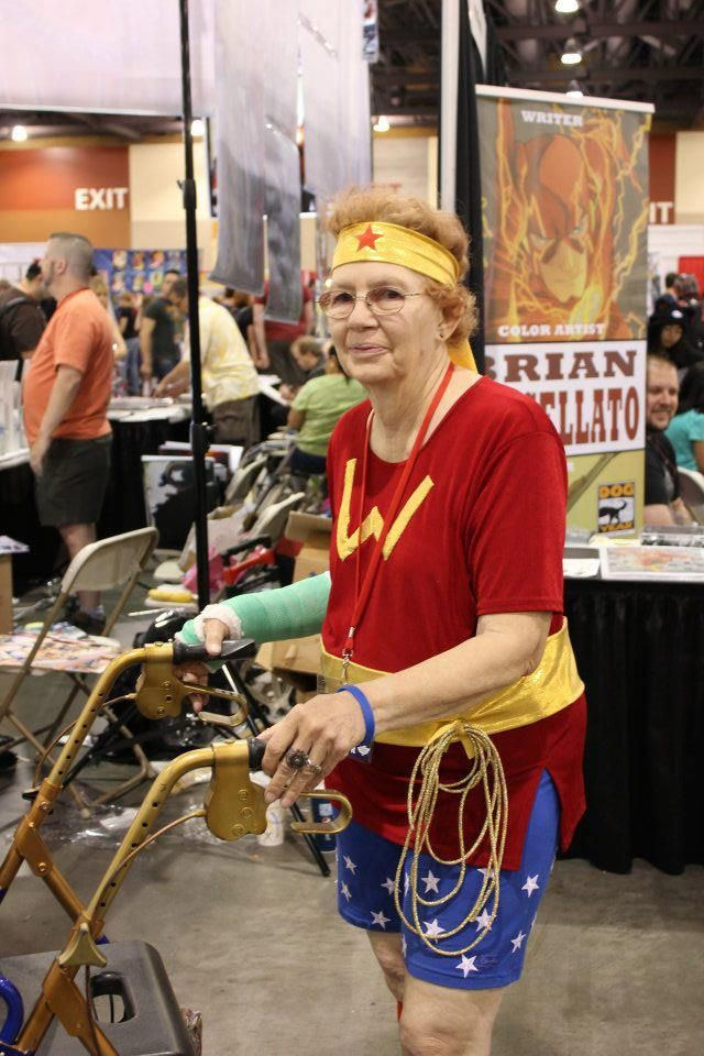 This old woman was close to 90 yrs old, and used a walker. But she would come to almost every Comic Convention in the Phoenix, AZ area dressed as Wonder Woman. She was truly a Wonder Woman!