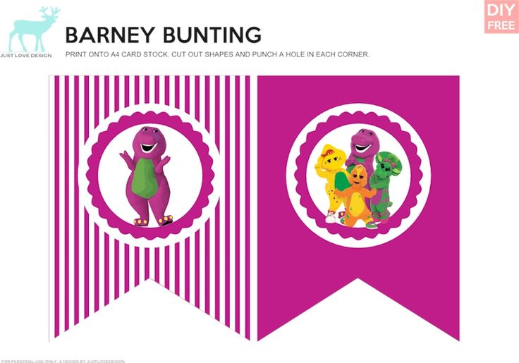 Free Barney DIY Bunting - JustLoveDesign