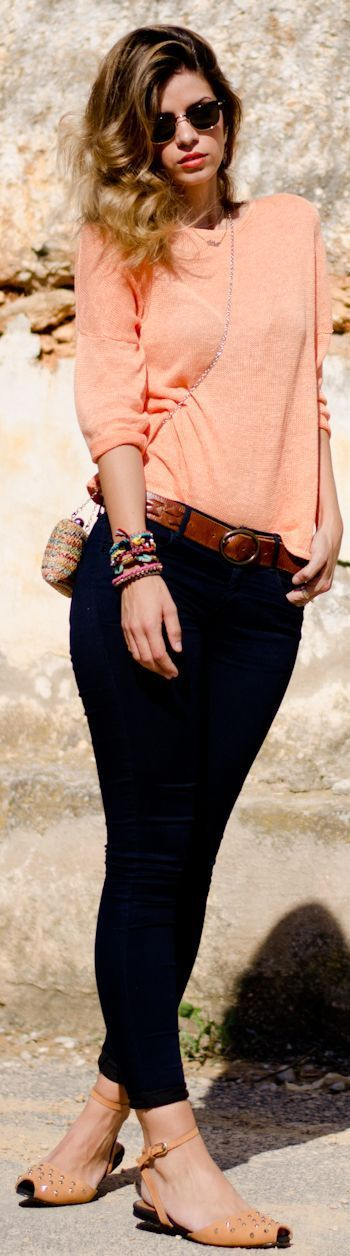 Adorable light orange and black combo fashion . . . to see more click on pic
