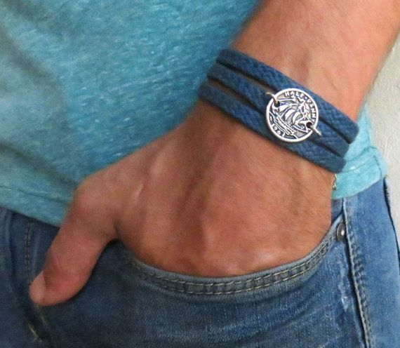 Men's Bracelet Blue Fabric Bracelet With Silver by Galismens