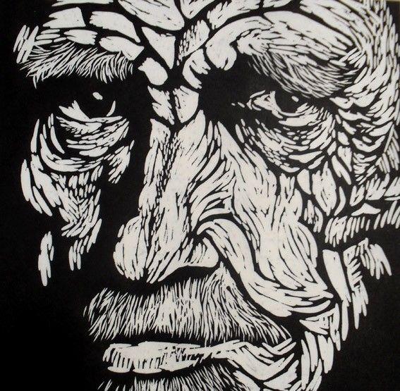 Man i linocut by rowanne anderson http